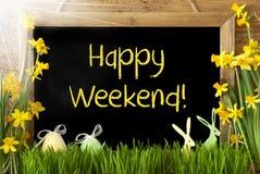 Sunny Narcissus, Paasei, Konijntje, Tekst Gelukkig Weekend Royalty-vrije Stock Afbeelding