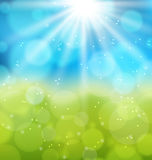Sunny natural background with lens flare. Illustration sunny natural background with lens flare - vector Royalty Free Stock Images