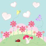 Sunny nature landscape with flowers and meadow cloud grass vector. Illustration Stock Images