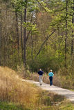 Sunny nature walk trail. Man and woman walking on a sunlit nature walk trail Stock Images