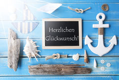 Sunny Nautic Chalkboard, Glueckwunsch Means Congratulations Stock Image