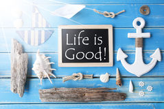 Sunny Nautic Chalkboard And Quote Always Life Is Good Royalty Free Stock Photo