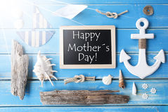 Sunny Nautic Chalkboard And Text Happy Mothers Day Stock Photos