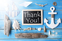 Sunny Nautic Chalkboard And Text Thank You Royalty Free Stock Images