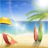 Sunny Ocean Coast With Palm. Vector Illustration Stock Image