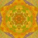 Sunny orange mandala kaleidoscope tile triangle arabesque stock photography