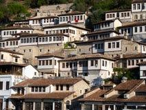 Sunny Ottoman Houses with Windows in Mangalem Quarter of Berati Albania