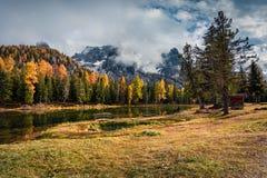 Sunny outdoor scene on Antorno lake Stock Photos
