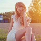 Sunny outdoors portrait of a beautiful young Stock Photography