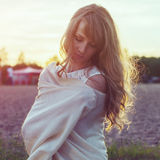 Sunny outdoors portrait of a beautiful young Royalty Free Stock Image
