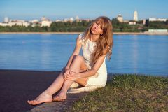 Sunny outdoors portrait of charming romantic girl Stock Images