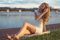 Sunny outdoors portrait of charming romantic girl Royalty Free Stock Photo