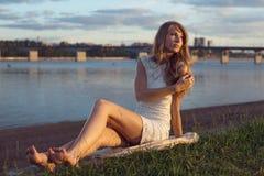 Sunny outdoors portrait of charming romantic girl Stock Photos