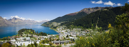 Sunny panoramic view of Queenstown Stock Photography