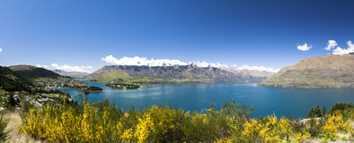 Sunny panoramic view of Queenstown Stock Photo