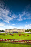 Sunny panoramic view of Schonbrunn Palace in Vienna, Austria Royalty Free Stock Photography