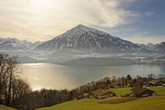 Sunny panoramic view in Thun in winter Royalty Free Stock Photos