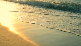 Sunny path glitters on the wet sand on the seashore