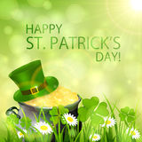 Sunny Patricks Day background and gold leprechauns. Sunny Patrick's Day background with clover and cauldron of gold leprechaun, illustration Stock Photo