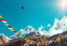 Sunny Peak View der Himalaja-Gebirgsin den buddhistischen Flaggen und -krähe Lizenzfreie Stockfotografie