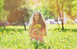 Sunny photo young girl on yellow meadow Stock Photography