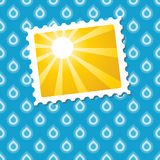 Sunny pic on seamless blue raindrop background Royalty Free Stock Image