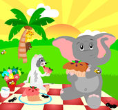 Sunny Picnic. Illustration of an elephant and ferret having a picnic on a sunny day vector illustration