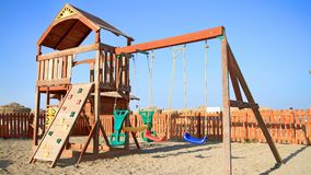 Sunny Playground. Photo of a playground for children near the beach Stock Photography