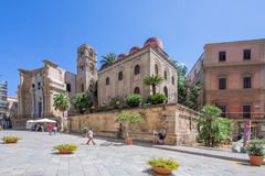 Sunny plaza in Palermo, Italy. Sunny plaza in Sicilian city of Palermo, Italy royalty free stock photos