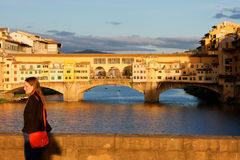 Sunny Ponte Vecchio Florence Italy Stock Images