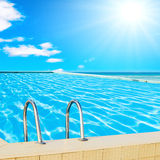 Sunny pool of a hotel Stock Photo