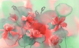 Sunny poppy field watercolor Royalty Free Stock Photo