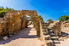 Sunny Port of Caesarea Royalty Free Stock Photo