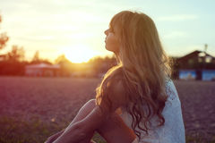Sunny portrait of a beautiful young romantic woman Stock Photo