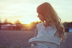 Sunny portrait of a beautiful young romantic woman Stock Image