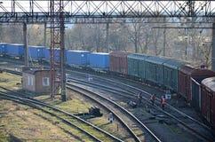 Sunny railway landscape Stock Photo