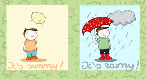 Sunny and rainy. Double illustration of a smiling kid and the weather. Digital colors Stock Photography