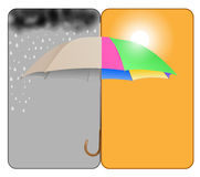 Sunny-rainy. Vector concept forecast illustration, eps10 file, gradient mesh and transparency used Royalty Free Stock Image