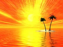 Sunny rays and palms. Island with two palms. Sunset. 3d Illustration Stock Images