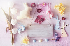 Sunny Retro Easter Flat Lay With Flowers, Copy Space. Sign With Copy Space For Advertisement. Sunny Retro Flat Lay With Easter Decoration Like Bunny And Eggs Stock Image