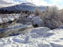 Sunny Riverbank with Whistler mountain in the back. And reflections on the water Stock Photo