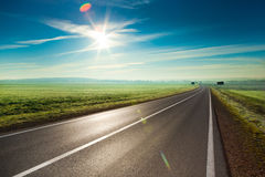 Sunny road. Beautiful sunny road in the morning Royalty Free Stock Photos