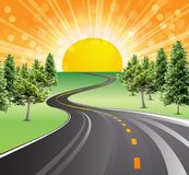 Sunny landscape road success green trees. Beautiful sunrise on the road. Morning sun vector illustration. Yellow big sun with glow and rays, positive, sunny days Royalty Free Stock Photo