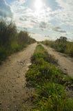 Sunny road field Royalty Free Stock Photo