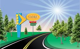 Landscape Road Sign sunny road store shop sale sign. Beautiful sunny road illustration with green trees and  retail sign. Store shop commercial sign. City Royalty Free Stock Photo