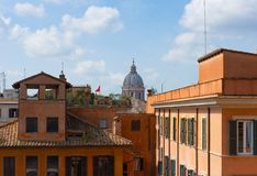 Sunny Rome roofs,  Italy. View of the sunny Rome roofs,  Italy Royalty Free Stock Photos