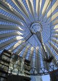 Sunny roof detail and blue sky. Sunny illuminated roof detail of the Sony Center in Berlin (Germany royalty free stock photos