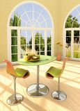 Sunny room. Modern room with french windows and apples on the table Royalty Free Stock Photos