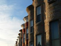 Sunny Row Homes. Row of sunlit row homes Royalty Free Stock Photos