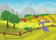 Sunny rural landscape with hills, trees, mountains and fields. Vector illustration of beautiful autumn summer landscape royalty free illustration